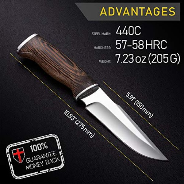Grand Way Fixed Blade Survival Knife 2 Hunting Knife - Survival Knives with Sheath - Engraved Fixed Blade Knife - Hunter Bushcraft Bowie Knofe - Classic Long Blade Knifes with Wood Handle for Men - Best for Hunting Camping Defense 2428