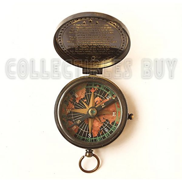 collectiblesBuy Survival Compass 6 collectiblesBuy Antique Vintage Compass Pocket Brass Authentic Sailor, 2 inch, Brown