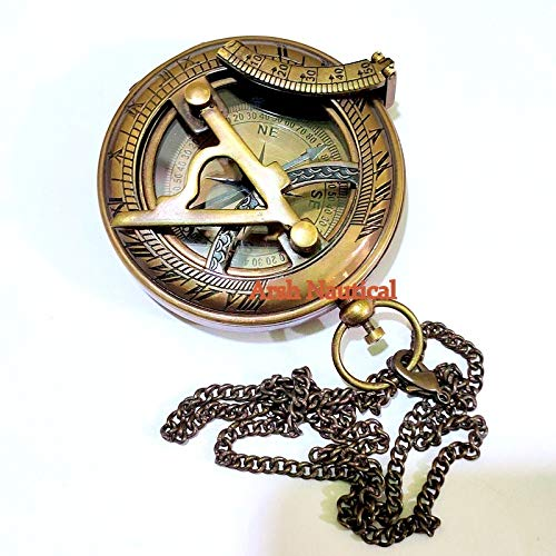 Arsh Nautical  6 Arsh Nautical Gifts for Husband/Nautical Collectibles Brass Sundial Compass with Handmade Leather Case