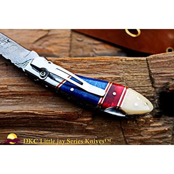 "DKC Knives Folding Survival Knife 5 DKC Knives Sale DKC-58-LJ-CL-DS-PC Little Jay Classic Pocket Clip Damascus Folding Pocket Knife Buffalo Horn Handle 4"" Folded 7"" Long 4.7oz oz High Class Looks Incredible Hand Made LJ-Series"