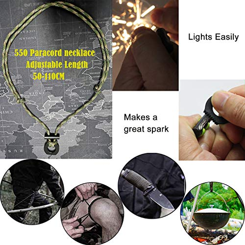 BSGB Survival Fire Starter 2 BSGB DIY Paracord Kits Ferro Rod & Scraper with Tinder Cord | Survival Fire Starter Necklace Gear Firesteel Striker Kit Magnesium Ferro Rod Tool with Adjustable 550 Rope Emergency Lanyard for Camping