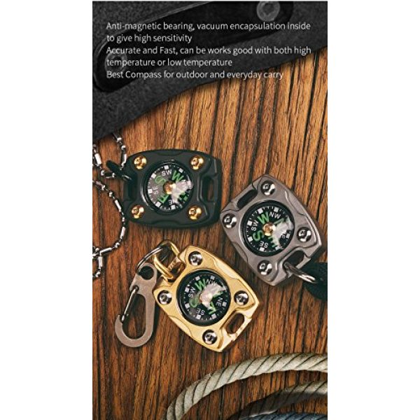 MecArmy Survival Compass 6 MecArmy CMP2, High Sensitivity EDC Compass, with Glow in The Dark and Beaded Chain You can Carry as a Pendant