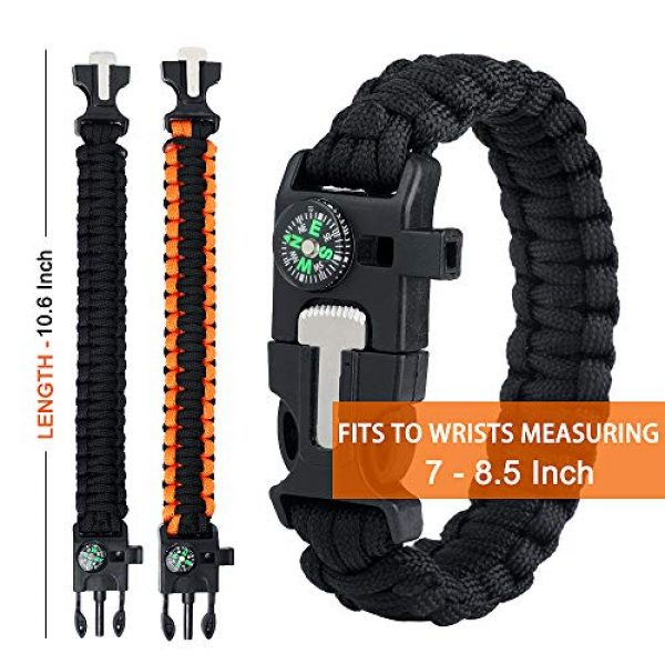 WEREWOLVES Survival Paracord Bracelet 3 WEREWOLVES Survival Paracord Bracelets,Professional Personal EDC Tactical Bracelet,Multifunction Camping Hiking Gear with Compass, Fire Starter, Whistle and Emergency Knife