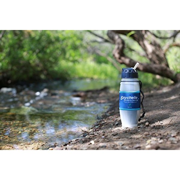 Seychelle Survival Water Filter 4 Seychelle Extreme Water Filter Bottle - Camping, Travel, Hiking, Backpacking, Survival and Emergency - Removes Bacteria, Viruses, Radiological Contaminants - 28 oz