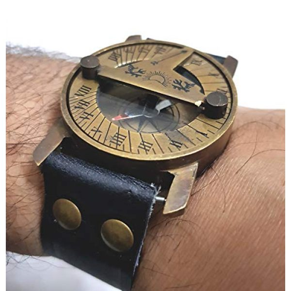 collectiblesBuy Survival Compass 6 Vintage Antique Sundial Compass with Leather Band Retro Watch Compass Nautical Comfort Wear Handmade Article