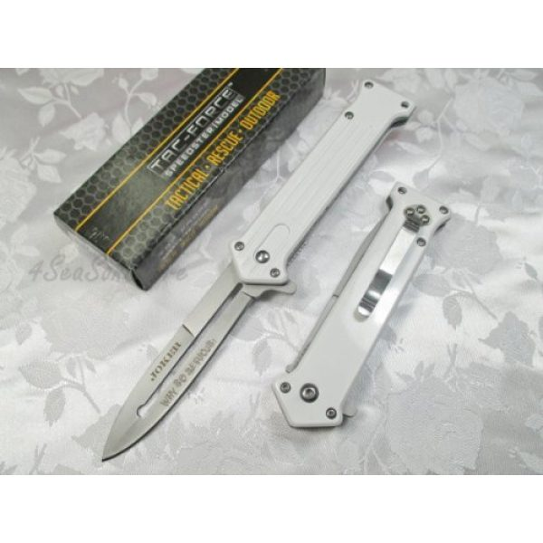 TAC Force Folding Survival Knife 2 Tac Force Assisted Opening Rescue Tactical Pocket Folding Silver Spear Headed Stainless Stteel Blade Why so Serious Knife Outdoor Survival Camping Hunting - White