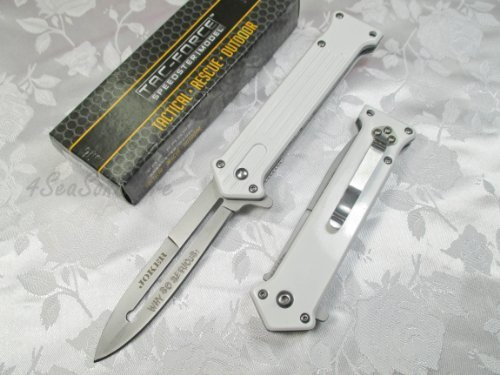 TAC Force  2 Tac Force Assisted Opening Rescue Tactical Pocket Folding Silver Spear Headed Stainless Stteel Blade Why so Serious Knife Outdoor Survival Camping Hunting - White