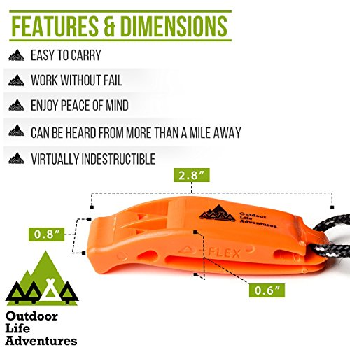 Outdoor Life Adventures  4 IMPROVED NEW Fail Safe Emergency Whistle With Lanyard Easy To Use For Signaling Attention Essential Survival & Personal Safety Gear for Family Vacations