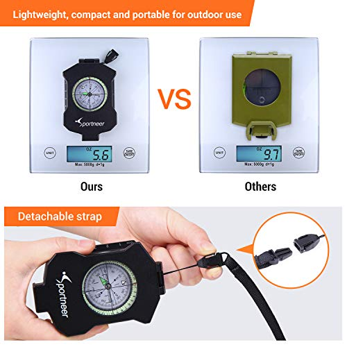 Sportneer Survival Compass 2 Sportneer Lightweight Sighting Compass with Inclinometer, Distance Calculator, Military Lensatic Waterproof Survival Compasses for Camping, Hiking, Backpacking, Boy Scout,Navigation, Boating