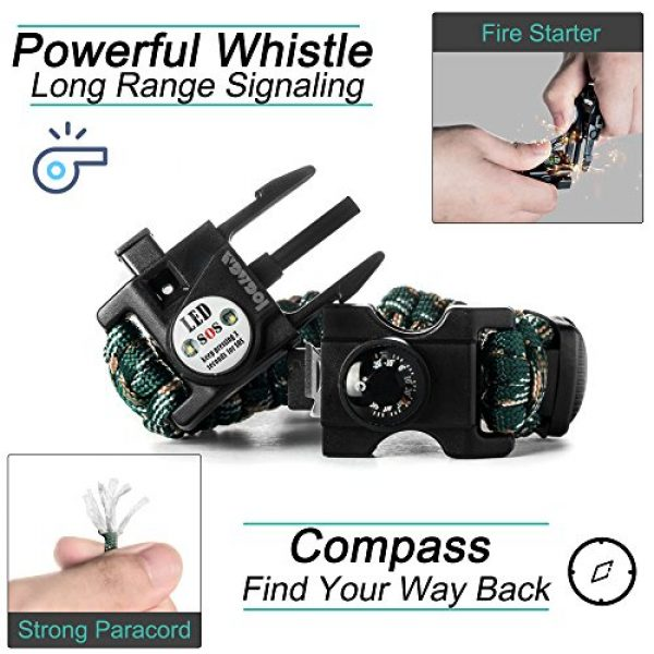 LOGAGA Survival Paracord Bracelet 4 Survival Paracord Bracelet, The Ultimate Tactical Survival Gear with SOS LED Light, Bigger Compass, Whistle, Fire Starter, Thermometer for Camping Hiking Outdoors