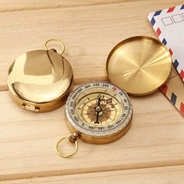 Laupha Survival Compass 5 Laupha Survival Gear Compass Pocket Military Antique Compass for Kids Accurate Waterproof for Hiking Outdoor Camping Motoring Boating Backpacking Compass Tool
