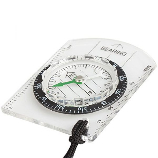 Flexzion Survival Compass 3 Flexzion Mini Baseplate Compass Pocket Style with MM INCH Measure Ruler and Neck Strap for Outdoor Hiking Camping Boating Map Reading Orienteering Tool in Transparent White