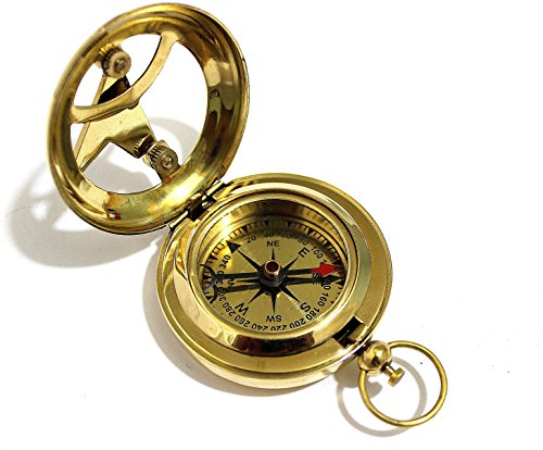 THORINSTRUMENTS Survival Compass 3 THORINSTRUMENTS (with device) Brass Push Button Direction Sundial Compass - Pocket Sundial Compass