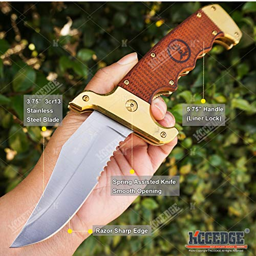 KCCEDGE BEST CUTLERY SOURCE  2 KCCEDGE BEST CUTLERY SOURCE Pocket Knife Camping Accessories Survival Kit Razor Sharp Clip Point Pakkawood Survival Folding Knife Camping Gear EDC 55600