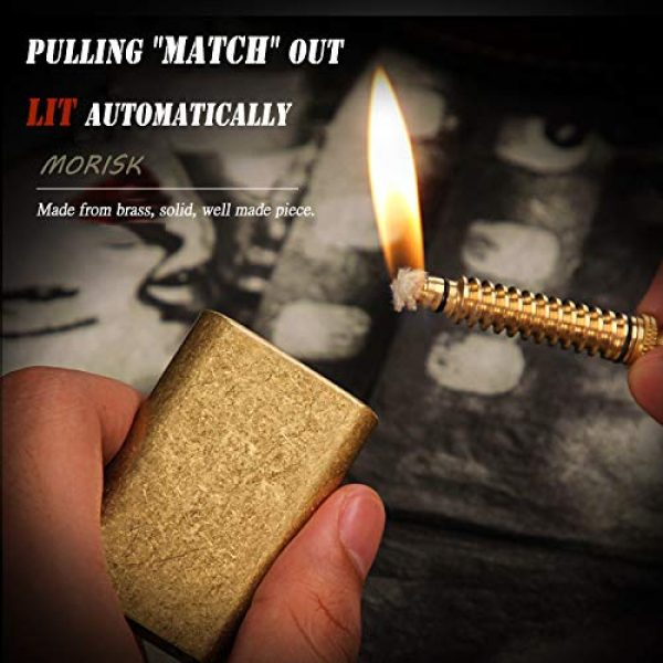 TURKEY Survival Fire Starter 2 MORISK Permanent Match, Cool Pipe Lighter Fluid Refillable, Copper Vintage Trench Lighters, Creative Auto Fire Starter, EDC Reusable Forever Matches, Unique Birthday Gift for Men Dad Husband Boyfriend