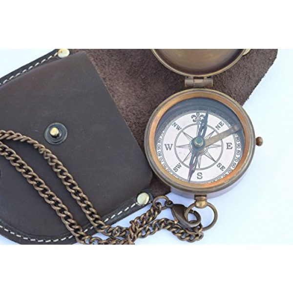 NEOVIVID Survival Compass 5 NEOVIVID Engravable Compass, Pocket Compass, Brass Compass with Leather Carry Case, Pirates Compass, Gift Compass, Camping Compass