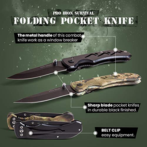 Pro Iron  2 Pro Iron Camo Survival Folding Pocket Knife Black Coated Stainless Steel (3r13) Tactical Knife with Belt Clip Liner Lock for Camping Hunting Fishing and All Other Outdoor Activities