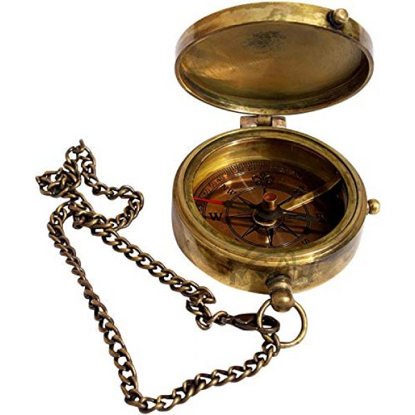 MAH Survival Compass 2 MAH Grow Old with ME Engraved Brass Compass ON Chain with Leather CASE, Directional Magnetic Compass. C-3273