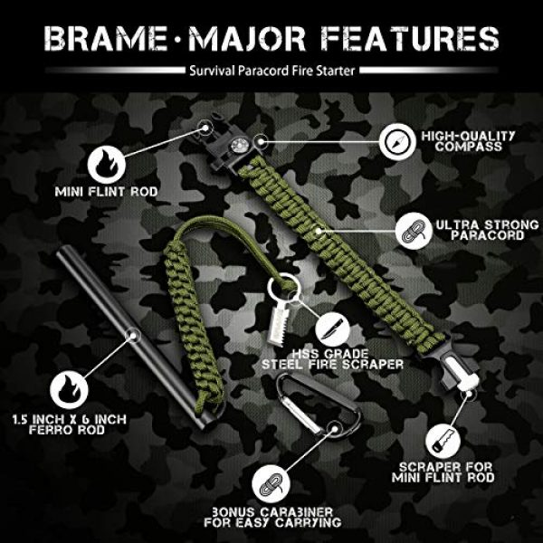 Brame Survival Fire Starter 3 Brame Ferro Rod 6 inch x 1/2 inch Fire Starter and Emergency Bracelet with Compass and Whistle, Fire Starting Survival Gear HSS Steel Scraper Ferrocerium Rod Kit with 9 ft Paracord and Carabiner
