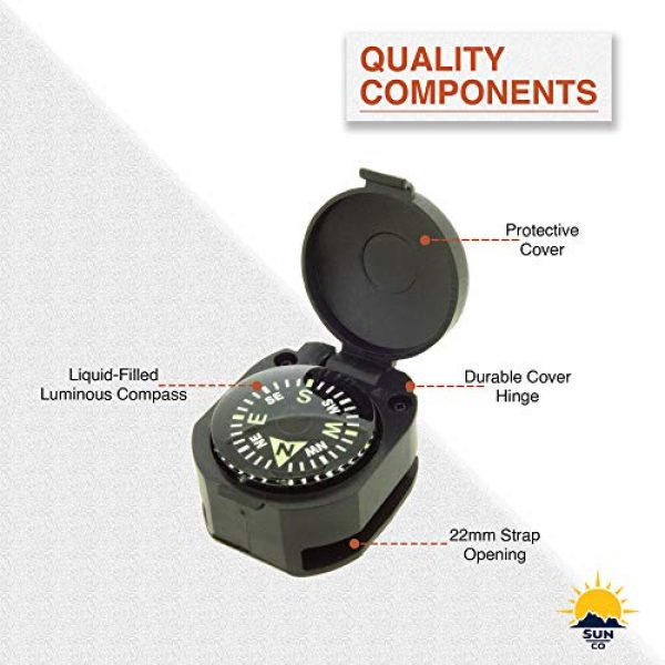 Sun Company Survival Compass 7 Sun Company Wrist Turtle - Armoured Wrist Compass with Closing Cover | Easy-to-Read Compass for Watch Band or Paracord Survival Bracelet