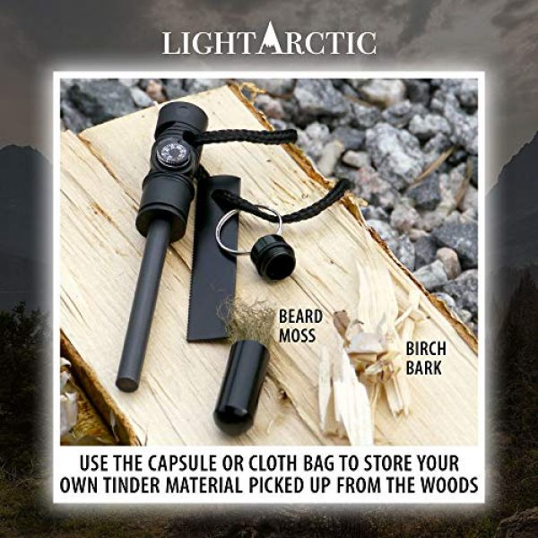 LightArctic Survival Fire Starter 5 LightArctic Magnesium Fire Starter Survival Multi-Tool with Tinder. Best for Campfires, Emergency Kit, Camping and Hiking Gear. Built-in Compass and Whistle, Waterproof Aluminum Capsule, Cloth Bag