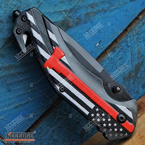 KCCEDGE BEST CUTLERY SOURCE  6 KCCEDGE BEST CUTLERY SOURCE Pocket Knife Camping Accessories Survival Kit Razor Sharp Rescue EDC Tactical Knife Glass Breaker Cord Cutter Hunting Knife Camping Gear Folding Knife 56089