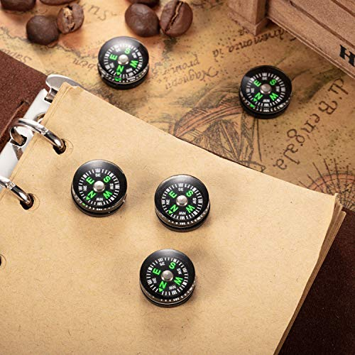 BBTO  6 200 Pieces Button Compass Mini Black Survival Compass Oil Filled Compass for Camping Hiking Boating Touring
