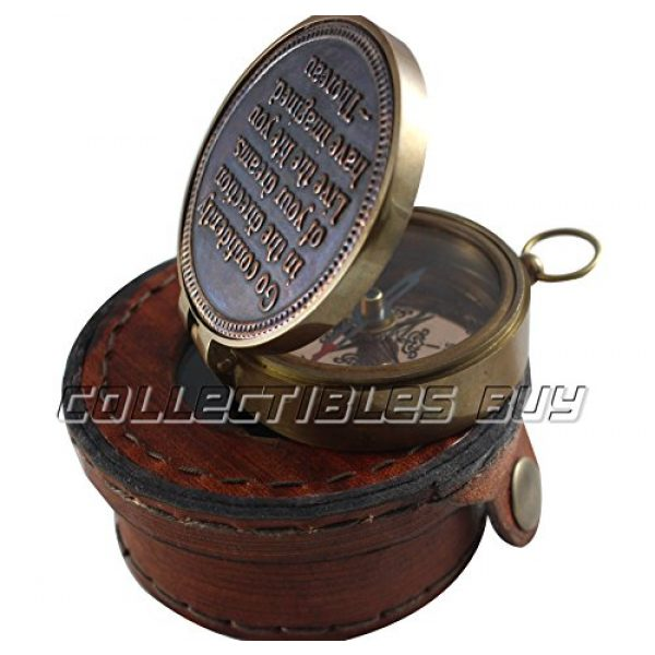 collectiblesBuy Survival Compass 5 Vintage Antique Quote Compass with Leather Round Box Handmade Gifts - Nautical Compass with Quote by Thoreau