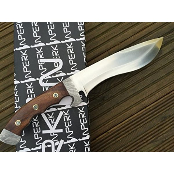 Perkin Fixed Blade Survival Knife 2 Perkin - Hunting Knife with Leather Sheath - D2 Steel Blade