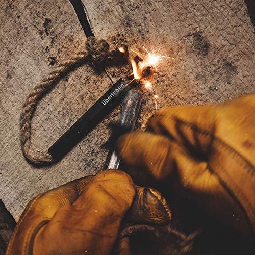 berleben Survival Fire Starter 3 berleben Tindr Wick + Bellow | Hemp Tinder Tube | Matchstick Fire Starter | Black Anodized Aluminum Sleeve | Waterproof