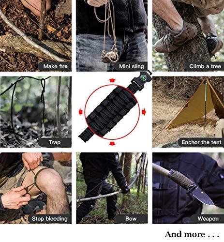 Feellove  2 Feellove 2pcs Survival Bracelets Compass Flint Bracelet Outdoor Escape Survival Hand Rope Survival Whistle Life-Saving Flint Bracelet
