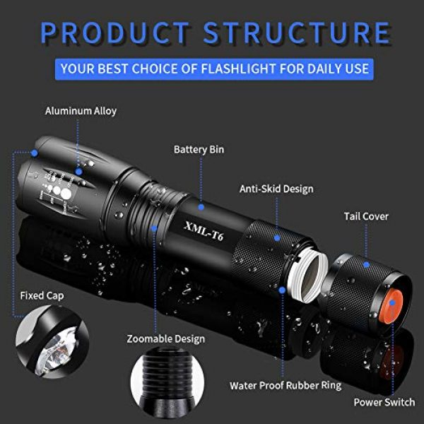 Airand Survival Flashlight 2 Airand LED Tactical Flashlight 3000 Lumen Rechargeable LED Flashlight Torch Flashlight 18650 Battery Charger, Zoomable, 5 Modes, Waterproof Handheld Light Spotlight For Outdoor, Camping, Hiking