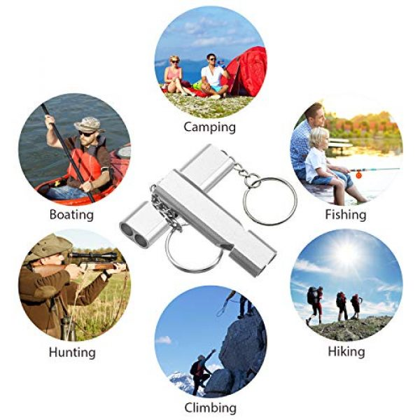 Frienda Survival Whistle 7 10 Pieces Emergency Whistles Safety Survival Whistles High Pitch Double Tubes Metal Whistle for Outdoor Camping Hiking Boating Hunting Fishing