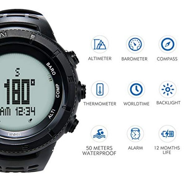 EZON Survival Compass 10 EZON Men's Digital Sports Watch for Outdoor Hiking with Compass Altimeter Barometer Thermometer Waterproof Military Watch Wristwatch H001H11