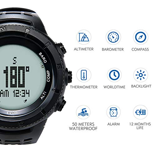 EZON  3 EZON Men's Digital Sports Watch for Outdoor Hiking with Compass Altimeter Barometer Thermometer Waterproof Military Watch Wristwatch H001H11