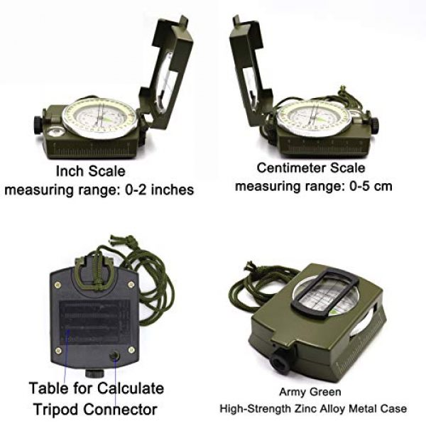 DETUCK Survival Compass 3 DETUCK(TM Military Compass Metal Sighting Lensatic Compass, Night Fluorescent, Impact Resistant and Waterproof, Survival Navigation Compass for Hiking, Camping, Hunting, Backpacking