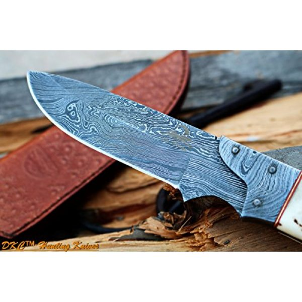 """DKC Knives Fixed Blade Survival Knife 2 DKC Knives DKC-715 Swagger Stag Horn Hunting Handmade Knife Fixed Blade 8.5 oz 9"""" Long 4"""" Blade"""