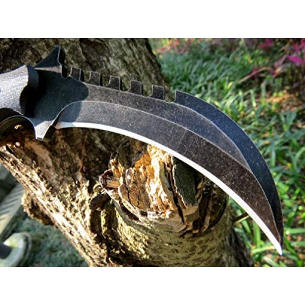 Canku Fixed Blade Survival Knife 4 Canku C1696 Fixed Blade Knife D2 Steel G10 Handle 4.3 Inches, Outdoor Survival Claw Tactical Teeth Knife Double Edged Sharp, Camping EDC Tools, Kydex Sheaths