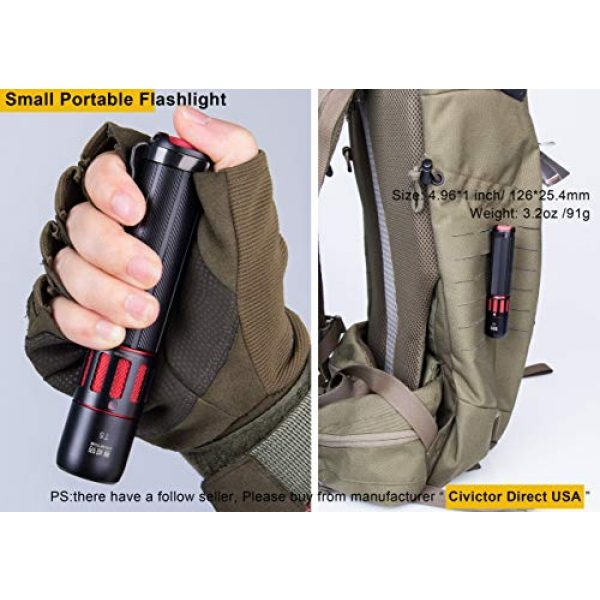 CIVICTOR Survival Flashlight 6 Small Tactical Flashlight 1000 lumens High Power Super Bright Cree Led Flash light 18650 Rechargeable Battery Mini Police Pocket Flashlight Waterproof EDC Gear Camping Military Army Tac Torch Lantern