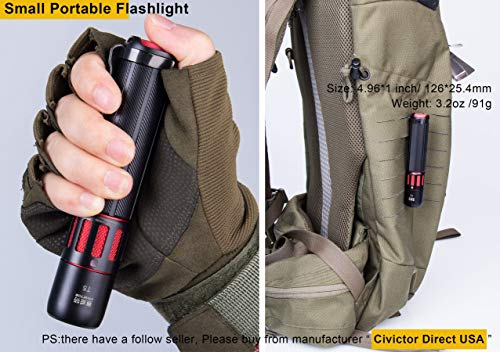 CIVICTOR  6 Small Tactical Flashlight 1000 lumens High Power Super Bright Cree Led Flash light 18650 Rechargeable Battery Mini Police Pocket Flashlight Waterproof EDC Gear Camping Military Army Tac Torch Lantern