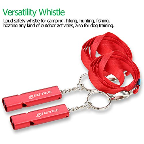 Rigtee Aluminum Alloy Rescue Whistle with Neck Lanyard and Keyring Outdoor Emergency Survival Coach Whistles Referee Gear Lifeguard Loud Double Tubes Whistle (Red)