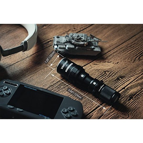 Weltool Survival Flashlight 5 Weltool T7 AA Compact Tactical Flashlight Long Throw IP67 Waterproof 659ft Powered by 14500 AA Battery Impact-Resistant for Hunting Remington 870, Mossberg 500 Neutral White/Cool White