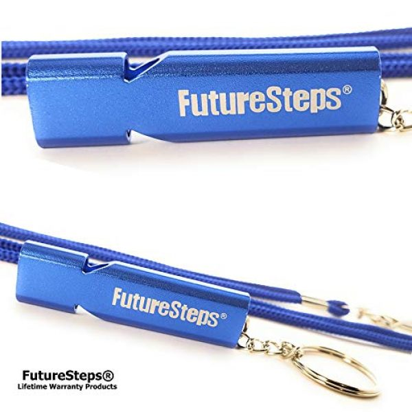 FUTURESTEPS Survival Whistle 4 FUTURESTEPS Survival Whistle, Emergency Safety, Loud for Hiking, Storm, Camping, Boating, Dog Training with Lanyard - 120 Decibels - Blue Color - 36 Inch Lanyard