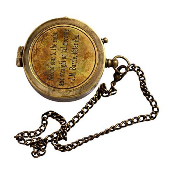 MAH Survival Compass 2 MAH Second Star to The Right J. M. Barrie, Peter Pan Engraved Brass Compass with Leather Case. C-3279