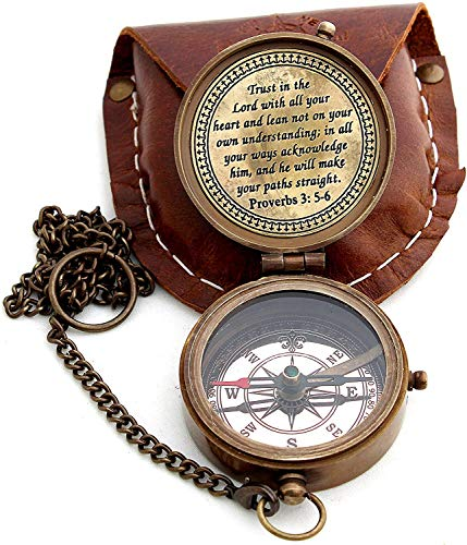Sara Nautical Survival Compass 4 Sara Nautical Trust in The Lord with All Your Heart Engraved Compass, Proverbs 3: 5-16 Engraved Gifts, Confirmation Gift Ideas, Religious Gifts, Missionary Gifts