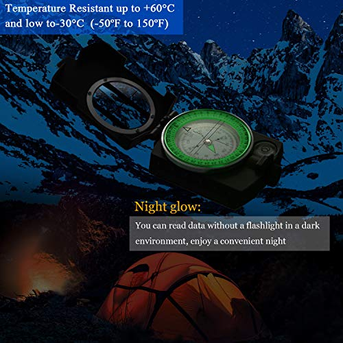 BBTO Survival Compass 7 2 Pieces Military Lensatic Sighting Compass Metal Sighting Navigation Compasses Impact Resistant Waterproof Lightweight Inclinometer Compasses with Carrying Bag for Hiking Camping Motoring Hunting