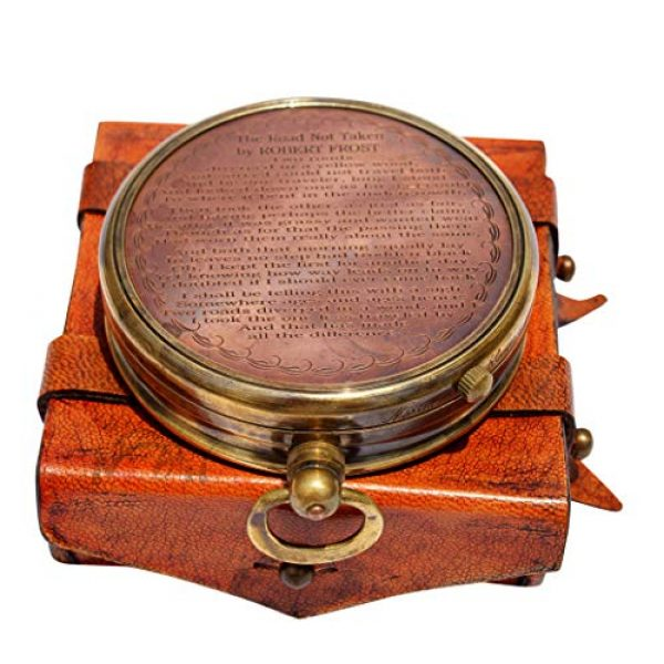 MAH Survival Compass 4 MAH ''Robert Frost Poem'' Engraved Antiquated Finish Brass Compass with Case. C-3241