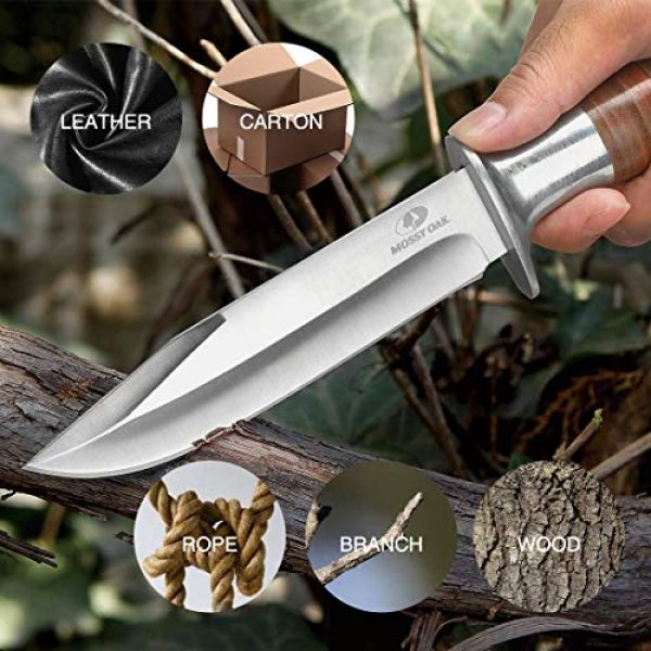 Mossy Oak Fixed Blade Survival Knife 6 MOSSY OAK Fixed Blade Hunting Knife Set with Sheath 2 Pieces Drop Point Bowie Knife with Laser Patterned Leather Handle