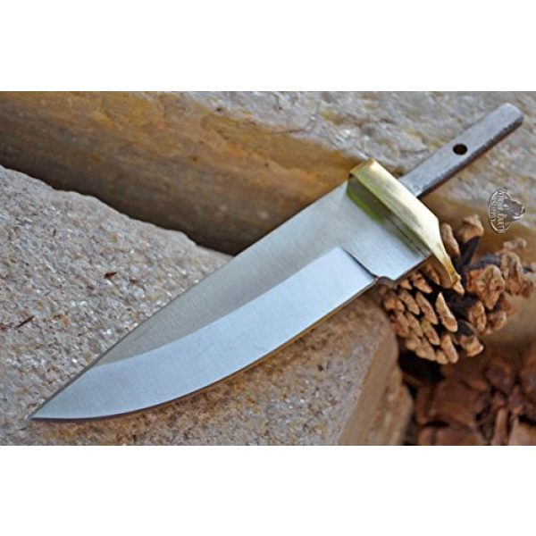 Whole Earth Supply Fixed Blade Survival Knife 3 Whole Earth Supply (Set of 2) Custom Blank Blade Drop Point Knife Knives Guard w/Brass Guard Bolster BL7829