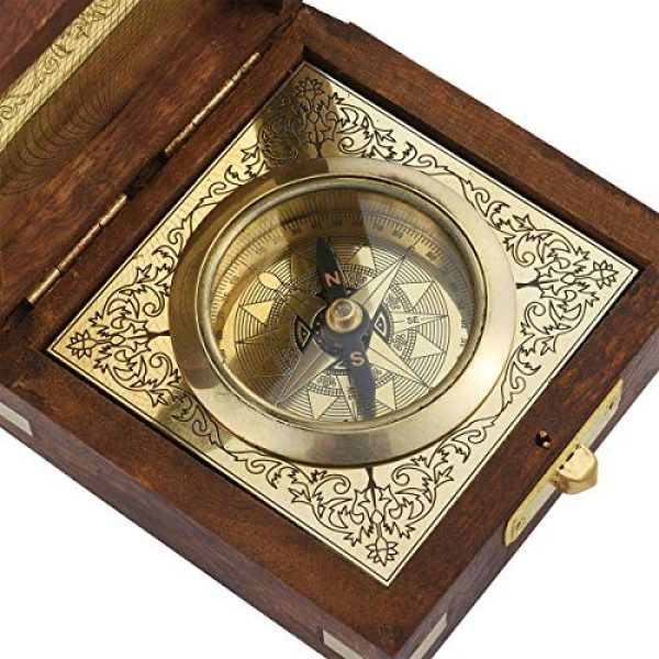 Shop LC Delivering Joy Survival Compass 5 Shop LC Delivering Joy Handcrafted Wooden Box with Built in Goldtone Compass Camping